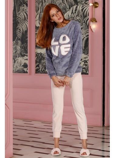 Hays Homewell Kadın Wellsoft Üst Kadife Alt Pijama Takımı Lila
